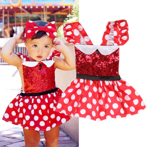 Newborn Toddler Girls Clothes Dress Polka Dots Cartoon Party Princess Cosplay Dress Tutu Dress 2018 New Baby Girls Clothing - thefashionique