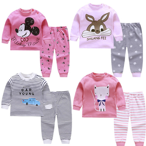 Newborn baby clothes set cotton Baby girls Clothes 2PCS Cartoon baby Boy Clothes Unisex kids Clothing pajamas Sets bebes