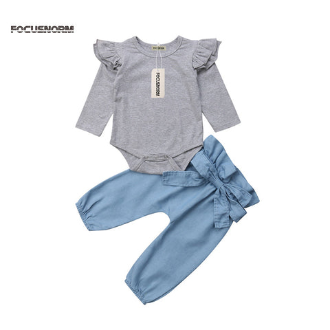 Newborn kid solid summer autumn suits 2018 fashion girls boys long sleeve ruffles bodysuits elastic waist long pants Casual 2pcs