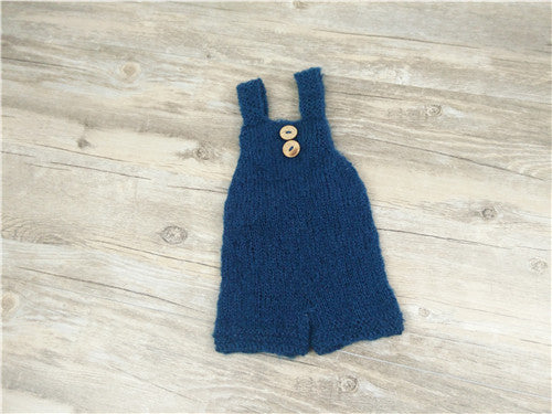 Newborn photography props soft mohair baby boy girls costume handmade knit buttons romper outfit baby photo props accessories - thefashionique