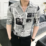Newspaper Print Shirt 2018 Designer Pattern Shirt Camisa Social Masculina Stylish Shirt For Men Party Club Unique Shirt Slim Fit - thefashionique