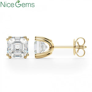NiceGems Solid 14K Yellow Gold  Double 4 Prong Asscher Cut D Color 3ctw Moissanite Diamond Stud Earring Push Back For Women Gift