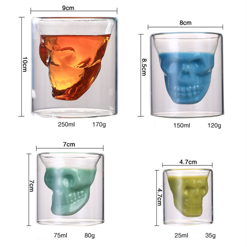 Novelty Cups 25ml-250ml Double Wall Skull Skeleton Whisky Bar wine glasses Glass Cup Crystal Skull Head Vodka Shot Wine Glass - thefashionique
