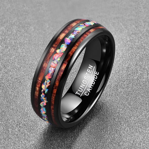 Nuncad 2019 Personality Vintage Colorful Koa Wood Opal Tungsten Carbide Men's Ring T097R  Size 6-14 - thefashionique