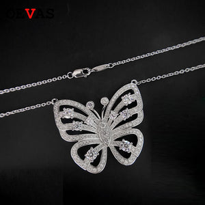 OEVAS 100% 925 Sterling Silver Wedding Necklace for women Sparking Full Zircon Hollow Out Butterfly Pendant Party jewelry Gifts