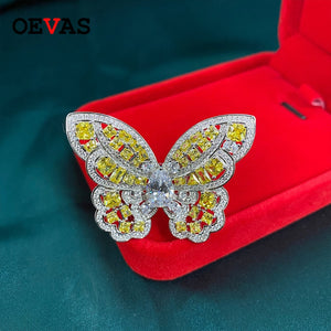 OEVAS Charms Butterfly Wedding Party Rings for Women Genuine 925 Sterling Silver Citrine Created Moissanite Ring Wholesale