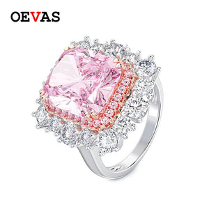 OEVAS Luxury 10*12mm Sparkling Zircon Engagement Rings For Women Big Stone Female Wedding Bands Jewelry Bague Femme Dropshipping
