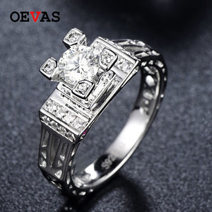 OEVAS Sparking 5mm Moissanite Romantic French Tower Wedding Rings For Women Top Quality 100% 925 Sterling Silver Wedding Jewelry