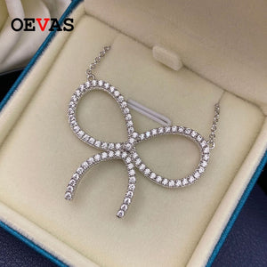 OEVAS Sparking Full High carbon diamond Zircon Bowknot Pendant necklace Top quality 100% 925 Sterling Silver Wedding jewelry