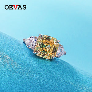 OEVAS Sparking High Carbon Diamond Party Rings For Women Top Quality 100% 925 Sterling Silver Wedding Engagement Jewelry Gifts