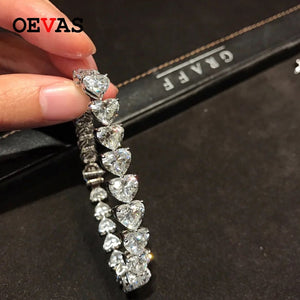OEVAS Sparkling High Carbon Diamond Heart Bracelet Pure 925 Sterling Silver Wedding Party Created Moissanite Fine Jewelry Gifts