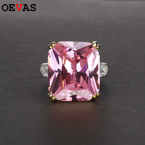 OEVAS Square Colorful Zircon Wedding Rings For Women Sparkling Engagement Party Fine Jewelry Fashion Anniversary Gift Wholesale
