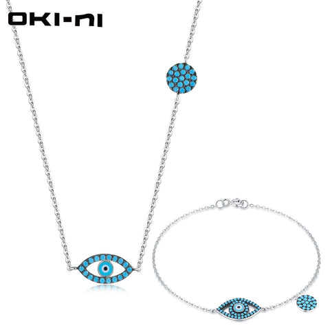 OKI-NI High-end Necklace & Bracelet Set Sterling 925 Silver Jewelry Sets & More Eye Pendant Christmas Gift set For Women EMZY-01 - thefashionique