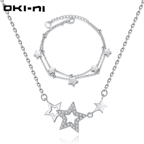 OKI-NI High-end Necklace & Bracelet Set Sterling 925 Silver Jewelry Sets & More Stars Pendant Christmas Gift For Women XLYJM-116 - thefashionique