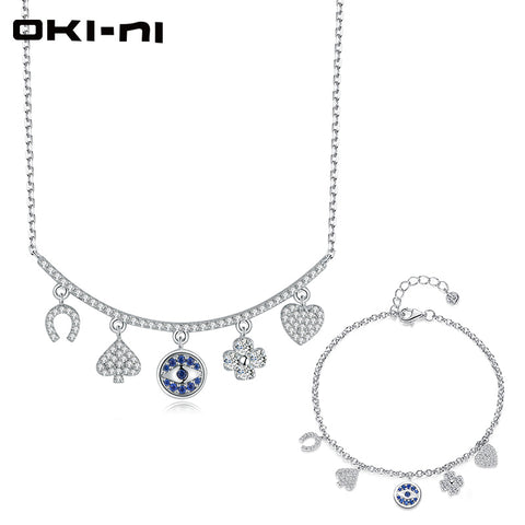 OKI-NI Hot New Sterling 925 Silver Jewelry Sets & More Necklace & Bracelet Set Chain With Pendant Gift set For Women TZ-XLYJM-58 - thefashionique