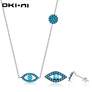 OKI-NI Hot New Sterling 925 silver jewelry Sets & More Necklace & Earring Set Chain With Pendant Gift set For Women TZ-EMZY-01 - thefashionique