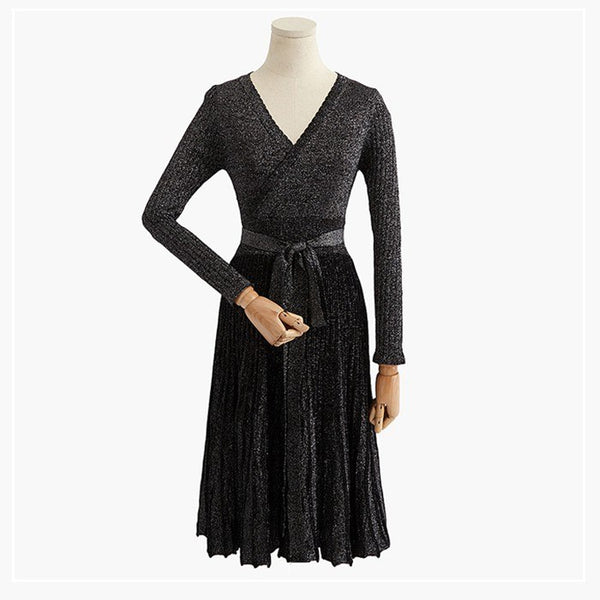 ONLYSTAR Sexy V Neck Wrap Women Sweater Dress Lurex Glitter Long Sleeve Women Vintage Dress A line Dress Full Sleeve Vestidos - thefashionique