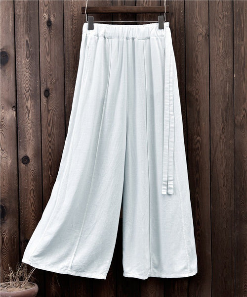 ORIGOODS Cotton Linen Wide leg Pants Women Chinese style Vintage Casual Long Pants Solid 2018 Wide leg Trousers Women Pants B221 - thefashionique