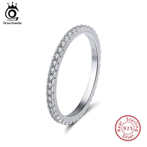 ORSA JEWELS 100% 925 Sterling Silver Rings Women Classic Round Full Pave AAA Cubic Zircon Engagement Wedding Band Jewelry SR63 - thefashionique