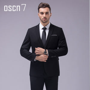 OSCN7 12 Color 2pcs Slim Fit Suits Men Notch Lapel Business Wedding Groom Leisure Tuxedo 2017 Latest Coat Pant Designs S-4XL - thefashionique