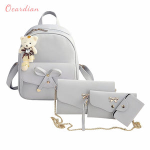 Ocardian backpacks Little bear pendant bowknot 4pc backpack female women backpack leather school backpack mochila feminina JL 16 - thefashionique