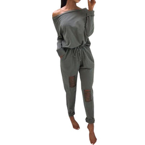 Off Shoulder 2018 Autumn Jumpsuit Femme Punk Style Holes Jumpsuits Street Fashion Women Sexy Long Sleeve Slash-Neck Romper GV946 - thefashionique