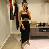 Off Shoulder Bodycon Autumn Winter Dress Women Two Piece Knitted Buttons Split High Waist Christmas Dress Vestidos - thefashionique