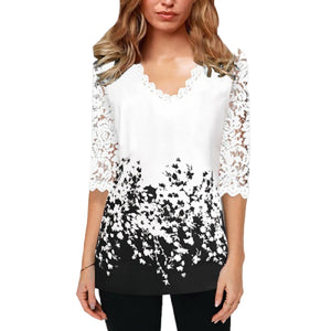 Office Lace Shirt White Print Tshirt For Women Spring Summer 2020 Plus Size Ladies New Top Shirts Elegant V-Neck T Shirt Femme - thefashionique