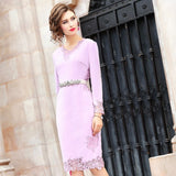 Office Lady wool dress 2019 new Women ladies sexy Full sleeves Party Dress Plus Size winter floral Vintage Knee Length dresses - thefashionique