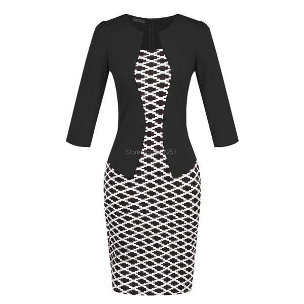 Office Work Clothing Women Pencil Dress with False Tops False Two Pieces Plaid Sexy Ladies Girls Spring Autumn Fashion Dresses - thefashionique