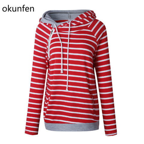 Okunfen Autumn Striped Maternity Top Fashion Pregnancy Clothes for Pregnant Women Maternity Hoodie Sweater