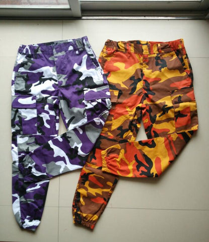 Orange Camouflage Pants Men and Women Sweatpants Purple Pink Gray Camo Pants Trousers Cargo Pant Streetwear Hip Hop Harem Jogger