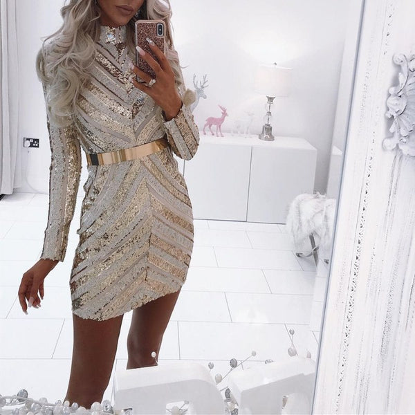 Ordifree 2019 Spring Women Sexy Bodycon Mini Dress Long Sleeve Club Wear Gold Sequin Short Party Dress - thefashionique