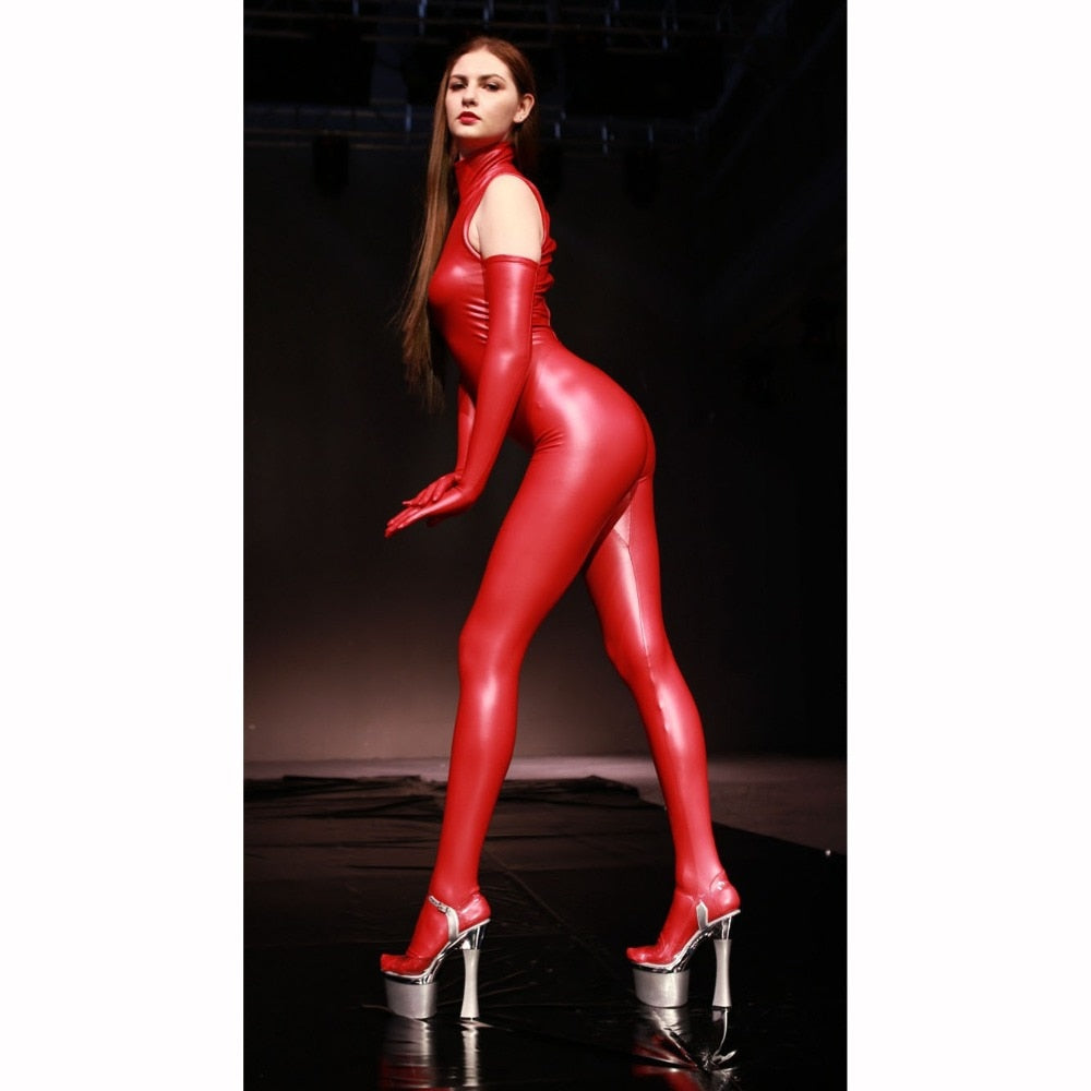 Original Design New Hot Sexy Latex Jumpsuit Women Sleeveless Turtleneck Rompers Cosplay Stage Shows Sculpting Bodysuit Pantyhose - thefashionique