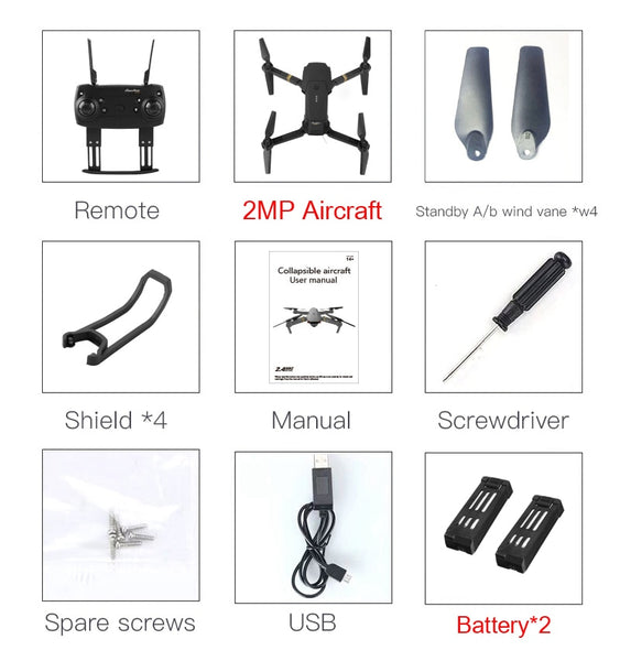 Original Eachine E58 WIFI FPV With Wide Angle HD Camera High Hold Mode Foldable Arm RC Quadcopter RTF VS VISUO XS809HW JJRC H37 - thefashionique