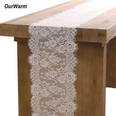 OurWarm Wedding Decoration White Lace Table Runner Baby Shower Boho Wedding Table Decoration Festive Party Supplies 35X300CM