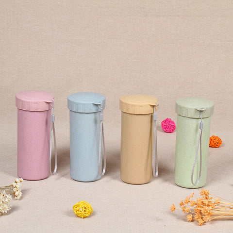 Outdoor Sports Travel Cup Minimalism Wheat Straw Fiber Water Bottle for Eco Friendly Portable Easy Life W8060 - thefashionique