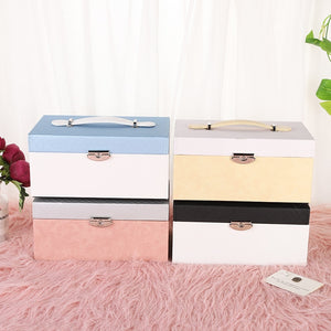 Outdoor portable jewelry box multi-layer earrings necklace with lock decorative box Princess jewelry storage box