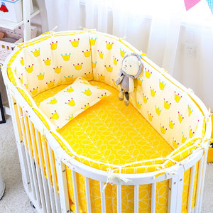 Oval Crib Bedding Set Nordic Style Baby Bed Linen 5pcs/set Newborns Safety Bumper Quilt Pillow Baby Cot Bedding Set 8 Colors