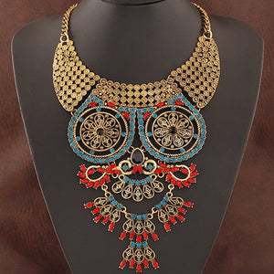 Owl Pendant Collar Crystal Rhinestone Statement Necklace for Women Elegant Luxury Big Choker Vintage Long Necklace - thefashionique
