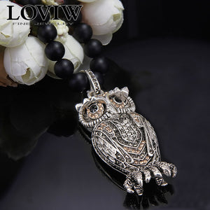 Owl necklace black stone chain 925 sterling silver pendent thomas style elegant Zircon Gothic party Jewelry NEW for men & women - thefashionique