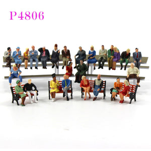 P48  All NEW Seated Figures O scale 1:48 Painted People Model Railway 1:48 scale model figures model building - thefashionique