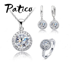 PATICO Luxury Women Wedding Necklace Earrings Ring Bridal Jewelry Set 925 Sterling Silver AAA Zircon Crystal Anniversary Gift - thefashionique