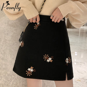 PEONFLY Fashion Floral Embroidery Skirts Women Casual Zipper High Waist Mini Skirts Women 2020 Spring Elegant A Line Skirt