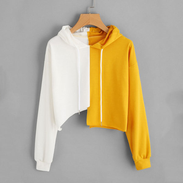 PLAMTEE Asymmetrical Hoodies Sweatshirt Women Patchwork Hooded Hoody Kpop Panelled Hoodie Loose Short Pullover Fashion Tracksuit - thefashionique