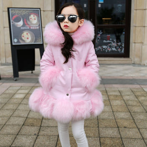 PPXX Girl Winter Parka Jacket Kid PU Leather Patchwork Fox Faux Fur Parkas Coat Princess Winter Thick Outerwear Plus Size