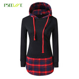 PSEEWE Women Casual Hoodies Sweatshirts Mujer plaid Long Sleeve Pullovers Sweatshirt Splicing  Hooded Hoody Female Loose Coat - thefashionique