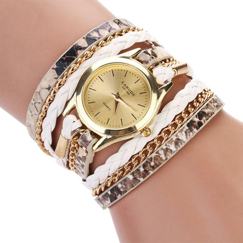 PU Leather Mix Chain Multilayer Strap women watch Leopard Band Bracelet Quartz Braided Winding Wrap wristwatch women Fashon