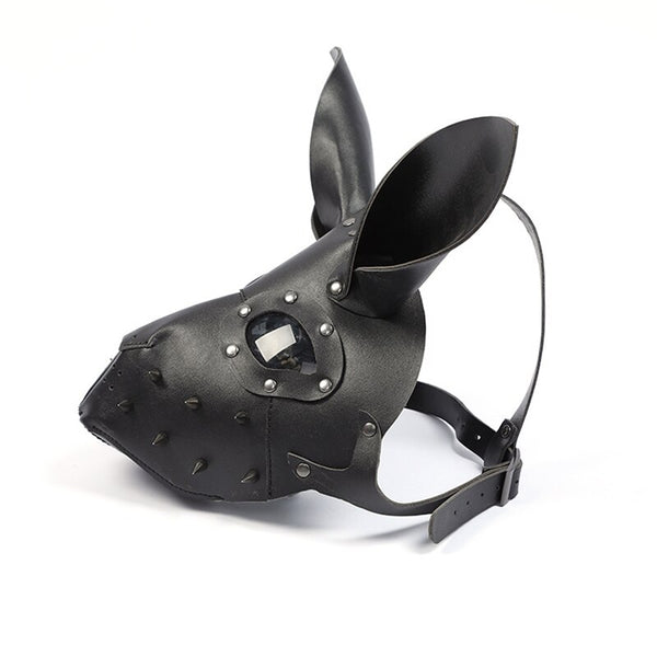 PU Leather Rabbit Punk Cosplay Mask Black Bar Party Halloween Costume Masks Headgear Props