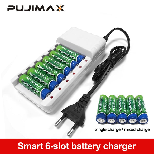 PUJIMAX 6 Slots Batteries Charger AA / AAA Ni-MH / Ni-Cd Batteries Rechargeable Battery EU Plug  universal battery charger